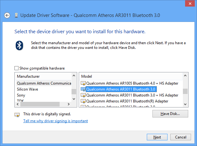 Qualcomm Atheros Ar3012 Bluetooth 4.0 Driver Windows 10 Download